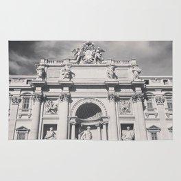 Trevi Fountain, black & white photography of Rome, fine art architecture, italian architectural love Rug