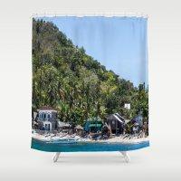 philippines Shower Curtains featuring Apo Island Philippines by Jennifer Stinson
