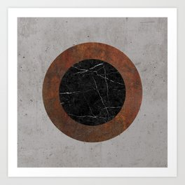 Concrete, Rusted Iron, and Black Marble Abstract Art Print