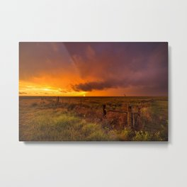 Sunset on the Plains - Sun Illuminates Sky After Stormy Day Metal Print