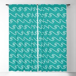 Wave Pattern | Waves | Nautical Patterns | Teal and White | Blackout Curtain