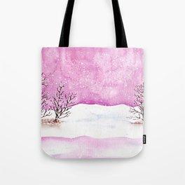 Winter Watercolor Painting Tote Bag
