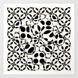 black and white circles in squares Art Print