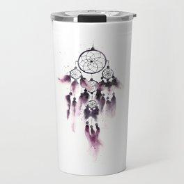 Dreamcatcher With Purple Feathers Travel Mug