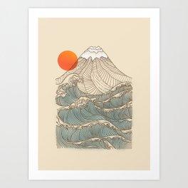 Mount Fuji the great wave  Art Print