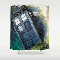 dr who Shower Curtains featuring Dr. Who Tardis by Mercenary Art Studio