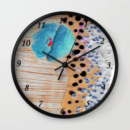Blue poppy and rivers Wall Clock