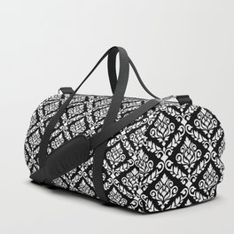 Prima Damask Pattern White on Black Duffle Bag