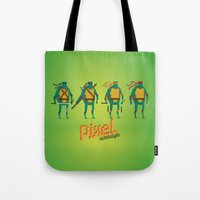 ninja turtles Tote Bags featuring Ninja Turtles - Pixel Nostalgia by Boo! Studio