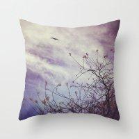 flight Throw Pillows featuring FLIGHT by ALLY COXON