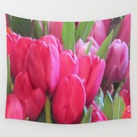 tulips Wall Tapestries featuring Tulips by lillianhibiscus
