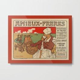 Vintage French sea fish advertising Metal Print