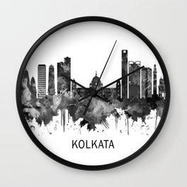 Kolkata West Bengal Skyline BW Wall Clock