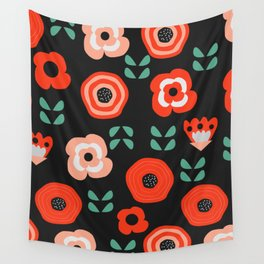 Midnight floral decor Wall Tapestry