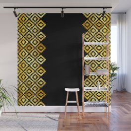 Turkish carpet gold black. Patchwork mosaic oriental kilim rug with traditional folk ornament Wall Mural