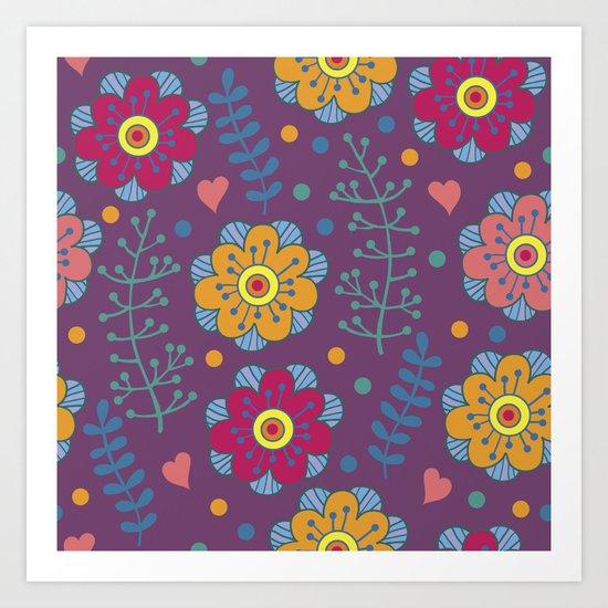 Lilac floral pattern Art Print