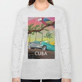 Cuba vintage travel poster print Long Sleeve T-shirt