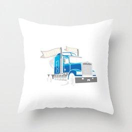 Highway Truck Driver Trucker Street Rod Haulin Ass Throw Pillow