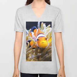 Clownfish In Anemone Unisex V-Neck
