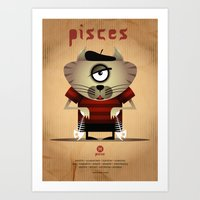 pisces Art Prints featuring PISCES by Angelo Cerantola