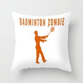 Funny Halloween Badminton Zombie Throw Pillow