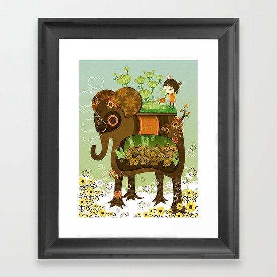 Elephant Garden Framed Art Print