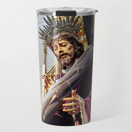Statue of Jesus Christ in Catholic cathedral Travel Mug