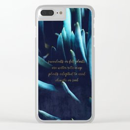 SUCCULENTS in Dark Blue Clear iPhone Case