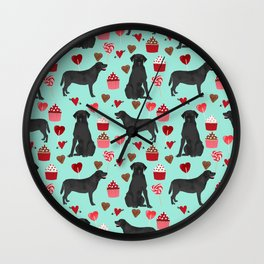 Black Lab love hearts cupcakes valentines day dog breed pet art gifts labrador retriever breed Wall Clock