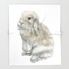 Lop Rabbit Watercolor Painting Bunny Throw Blanket