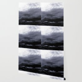 WHITE & BLUE & BLACK TOUCHING #2 #abstract #decor #art #society6 Wallpaper