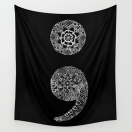 Patterned Semicolon: White on Black Wall Tapestry