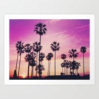 Sunset Palms Purple Tropical Sky Art Print