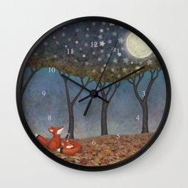 sleepy foxes Wall Clock