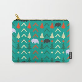Winter bear pattern in green Carry-All Pouch