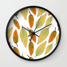 Autumn Watercolor Fall Watercolor Leaves Wall Clock