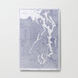 Puget Sound Washington State Nautical Chart Map Print 1956 Blue, Map Art Prints Metal Print