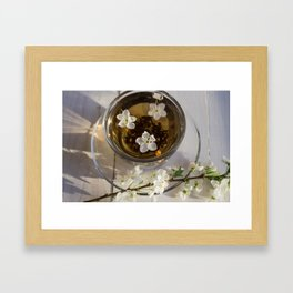 Tea. green Tea. Herbal tea. Mint leaf. Tea with apple flavor. Tea in a glass cup with apple blossoms Framed Art Print