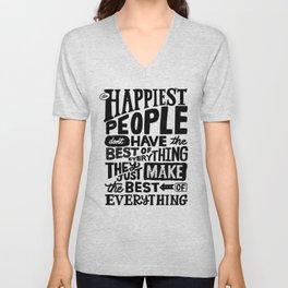 THE HAPPIEST PEOPLE x typography Unisex V-Neck