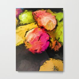 Pink and Green Apples with the Yellow Banana Metal Print