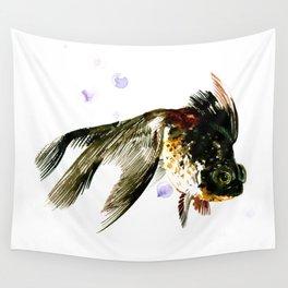 Black Moor, fish art, design cute black fish Wall Tapestry