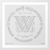Joshua 24:15 - (Letterpress) Monogram W Art Print