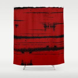 Black Grunge on Red Shower Curtain