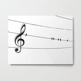 Natures Choir Birds on Wire Music Note A611W Metal Print