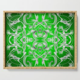 silver and green Digital pattern with circles and fractals artfully colored design for house Serving Tray