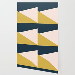 Jag 2. Minimalist Angled Color Block in Navy Blue, Blush Pink, and Mustard Yellow Wallpaper