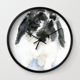 Black and White Bunny Rabbit Watercolor Wall Clock