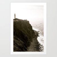 lighthouse Art Prints featuring Lighthouse by Rebecca