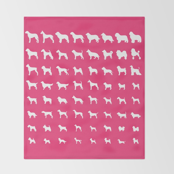 All Dogs (Pink) Throw Blanket