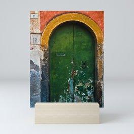 Magic Green Door in Sicily Mini Art Print